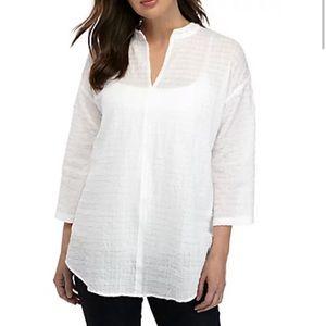 Eileen Fisher White Box Voile Tunic Long Shirt XL